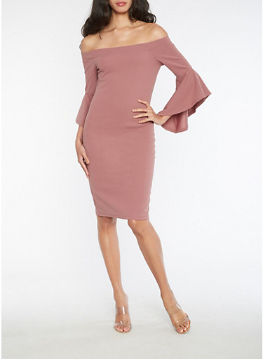 Textured Knit Off the Shoulder Dress with Bell Sleeves,MAUVE,large