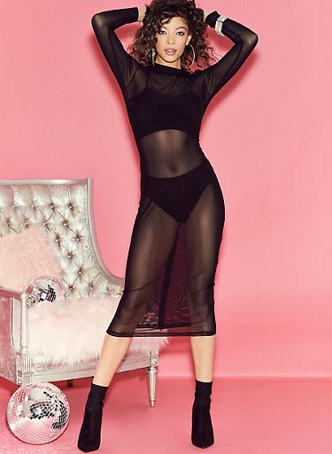 Mesh Long Sleeve Zip Back Dress,BLACK,large
