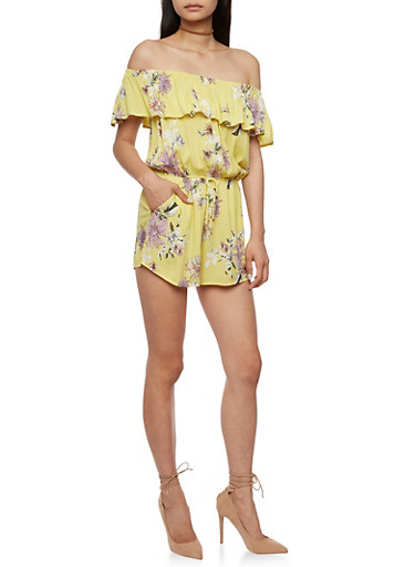 Off the Shoulder Floral Crinkle Romper,YELLOW,large