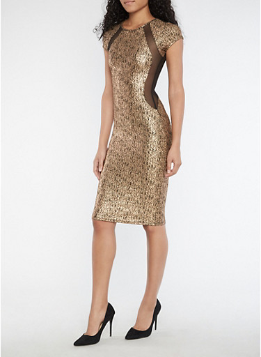 Mesh Trim Lurex Bodycon Midi Dress,GOLD,large