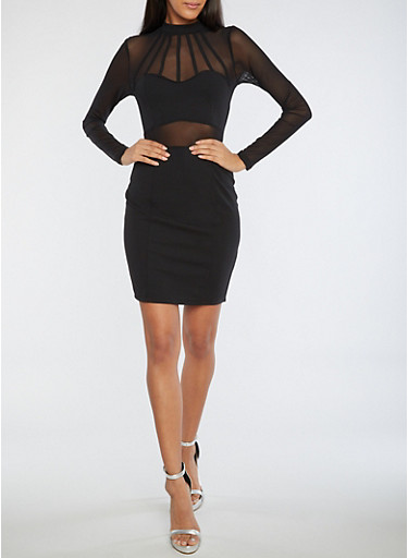 Caged Mesh Trim Bodycon Dress,BLACK,large