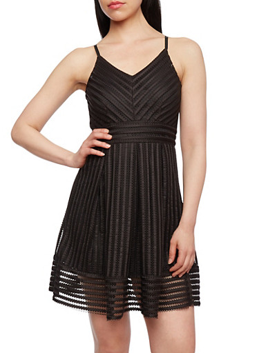A-Line Dress in Mesh Shadow Stripe Fabric,BLACK,large