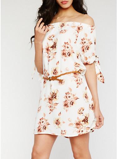 Belted Floral Off the Shoulder Dress,WHITE,large