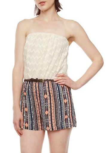 Strapless Romper with Crochet Top and Printed Knit Shorts,NAVY,large