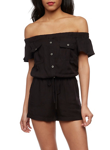Off the Shoulder Button Front Romper,BLACK,large