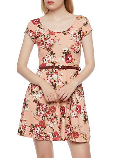 Belted Dress in Floral Print,BLUSH,large