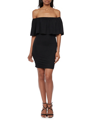 Off the Shoulder Dress with Overlay,BLACK,large