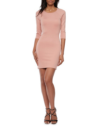 Mini Bodycon Dress with Strappy Open Back,MAUVE,large