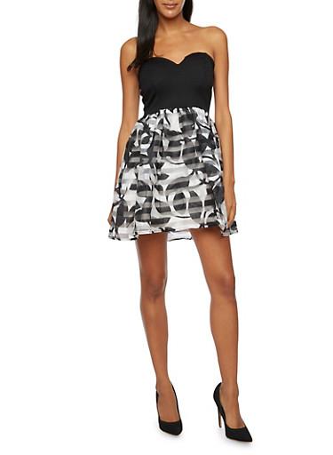 Strapless Mini Dress with Printed Organza Skirt,BLACK/WHITE,large