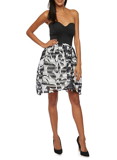 Strapless Dress with Printed High Low Skirt,BLACK WHT,large