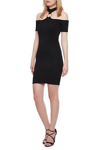 O Ring Choker Neck Mini Dress,BLACK,large