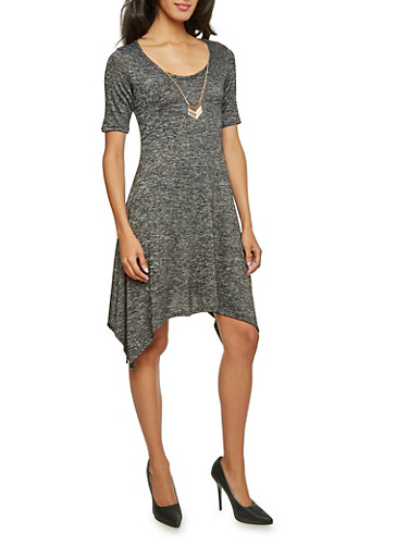 Marled Dress with Removable Necklace,BLACK,large