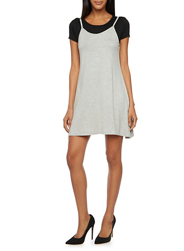 Layered Slip Dress with T Shirt,HEATHER  BLK,large