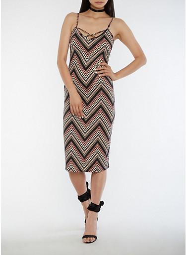 Sleeveless Printed Midi Dress with Caged Back,BLACK OLIVE BLUSH,large