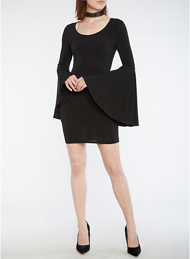Bell Sleeve Bodycon Dress,BLACK,large