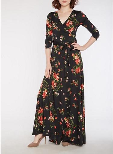 Floral Wrap Front Maxi Dress,BLACK,large