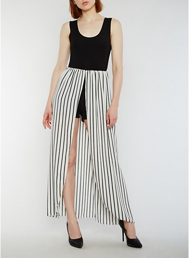 Sleeveless Romper with Striped Maxi Skirt Overlay,WHITE/BLACK,large