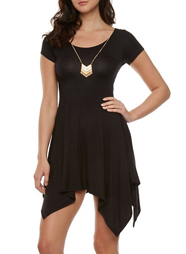 Asymmetrical Dress with Necklace,BLACK,large