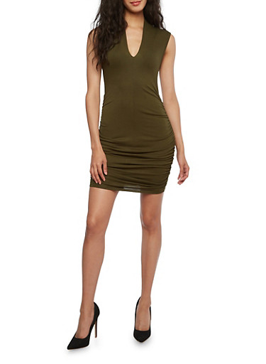 Ruched V-Neck Bodycon Dress,OLIVE,large