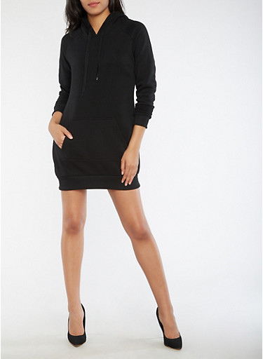 Fleece Hooded Sweatshirt Dress,BLACK,large