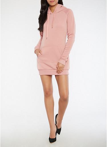 Fleece Hooded Sweatshirt Dress,MAUVE,large
