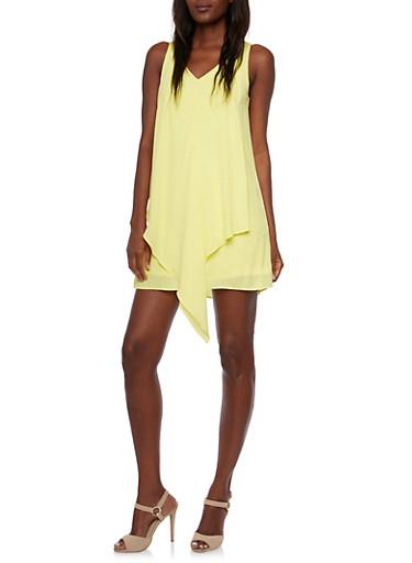 Yellow Chiffon Mini Dress with Cascading Front,YELLOW,large