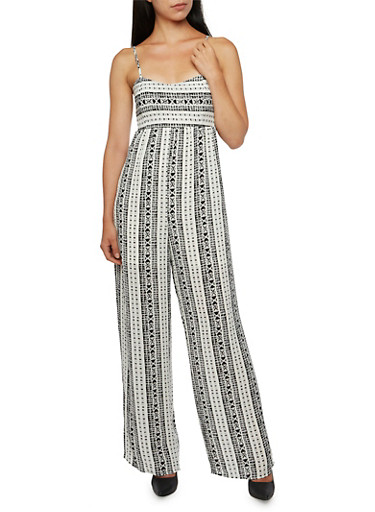 Palazzo Jumpsuit with Aztec Print and Tie Back,WHITE,large
