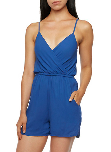 Chiffon Romper with Surplice Front,ROYAL,large