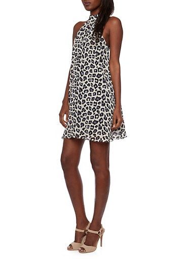 Swing Halter Dress in Animal Print,BLACK,large
