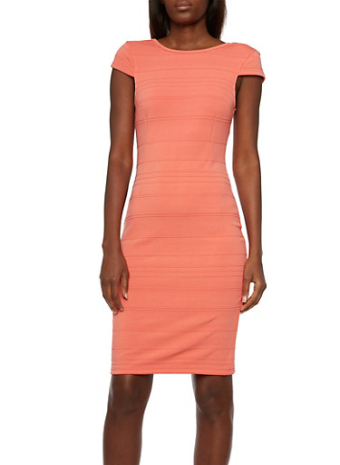 Textured Knit Dress,CORAL,large