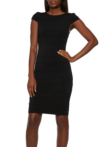 Scoop Back Bodycon Dress with Cap Sleeves,BLACK,large