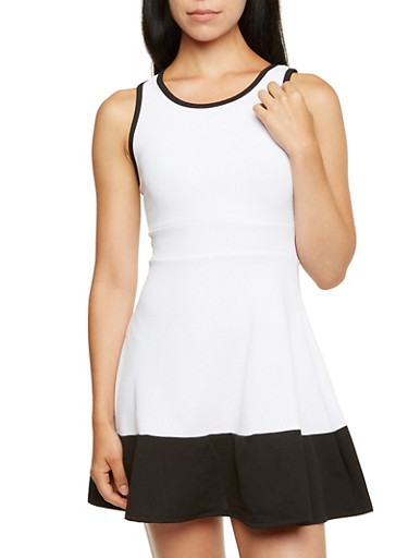 Color Block Skater Dress with Cutout Detail,WHITE,large