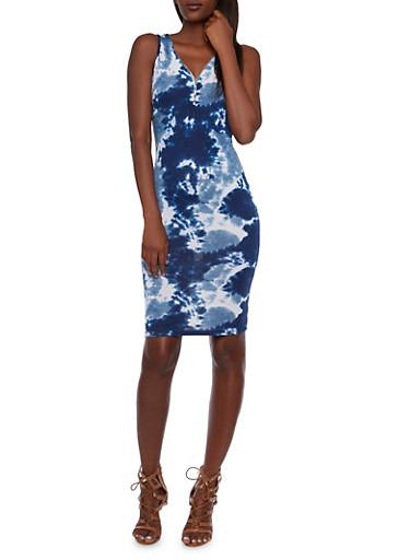 Tie Dye Bodycon Dress with Zipper Neckline,BLUE,large
