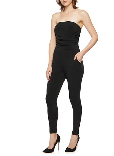 Strapless Jumpsuit with Ruched Bodice,BLACK,large
