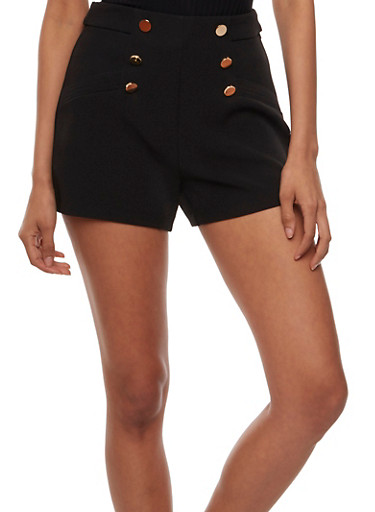 High-Waisted Shorts with Sailor Buttons,BLACK,large