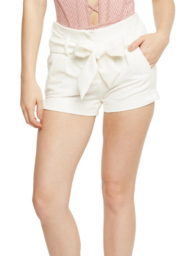 Pintuck Shorts with Tie Waist,WHITE,large