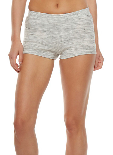 Ribbed Stretch Shorts,HEATHER,large