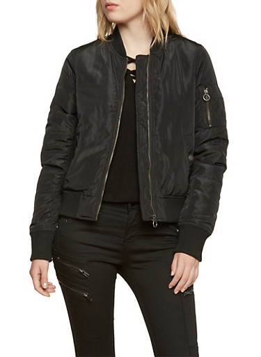 Padded Bomber Jacket with Sleeve Utility Pocket,BLACK,large