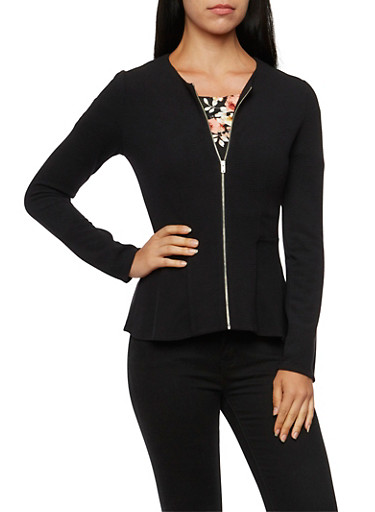 Peplum Blazer with Zip Front,BLACK,large