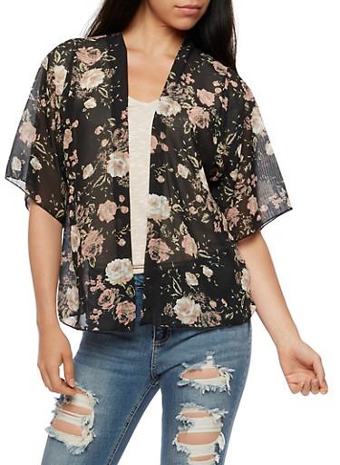 Floral Kimono,BLACK,large