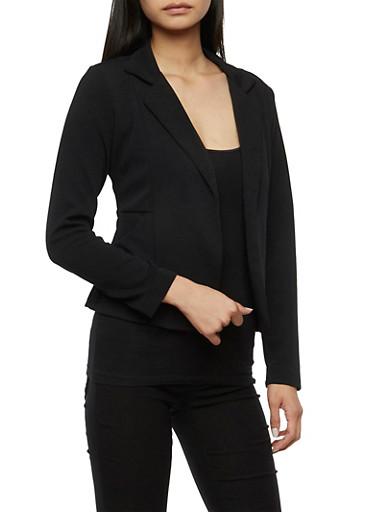 Crepe Knit Blazer with Pockets,BLACK,large