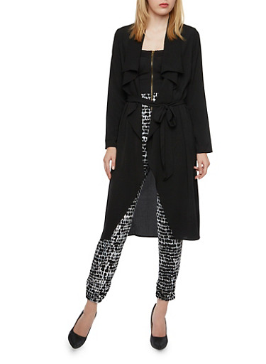 Cascading Long Sleeve Duster with Sash Tie,BLACK,large