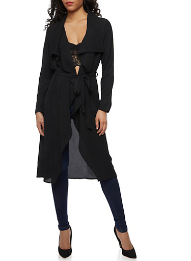 Crepe Knit Flyaway Duster,BLACK,large