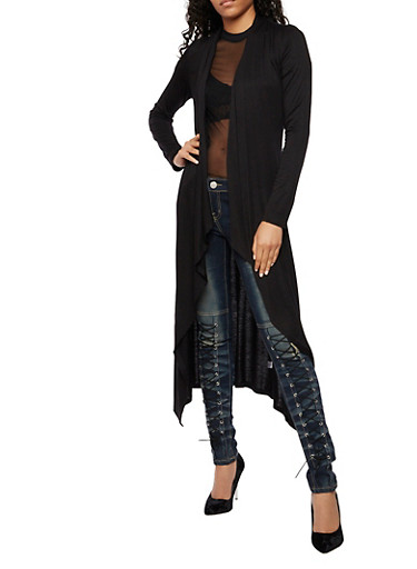 Long Sleeve Solid Duster,BLACK,large
