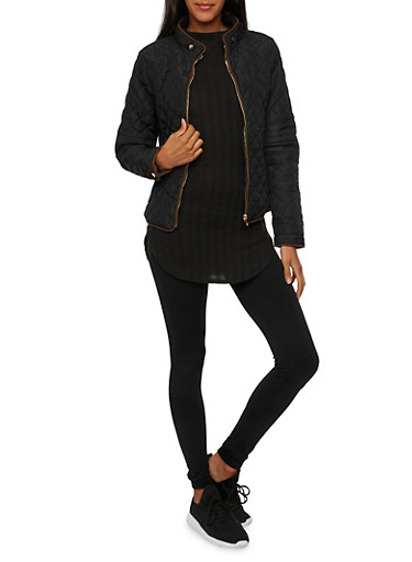 Quilted Jacket with Ribbed Panels,BLACK,large