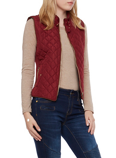 Quilted Vest with Ribbed Panels,WINE,large