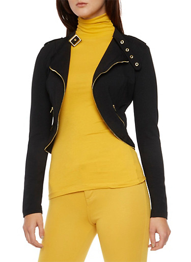 Asymmetrical Military Jacket with Zipper Detail,BLACK,large