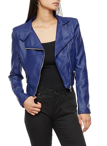 Faux Leather Moto Jacket,INDIGO,large