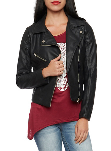 Faux Leather Jacket with Ribbed Paneling,BLACK,large