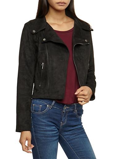 Faux Suede Moto Jacket,BLACK,large
